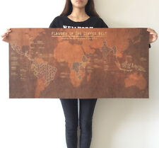 FLAVORS OF THE COFFEE BELT World Map huge large Vintage Style Retro Paper Poster