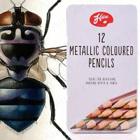 METALLIC COLOURING PENCILS IN TIN CASE Assorted Colour Drawing/Sketching Art Set