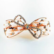 USA Barrette Hair Clip Rhinestone Crystal Hairpin Accessory Gold Pink Bow 39