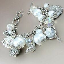 Silver Toned Charm Bracelet W White Pearls and Silver Purse, Shoe, Mirror Charms