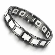 CERAMIC Tungsten Carbide Black & White Strong Magnetic Bio Energy Bracelet