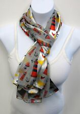 Wholesale Scarf Lot 6 PCS Gray Lighthouse Anchor Sailboat Nautical Print Scarves