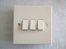 3 GANG 2 WAY SWITCH - STANDARD WHITE TRIPLE SWITCH BY BG BOX OF 10 SWITCHES