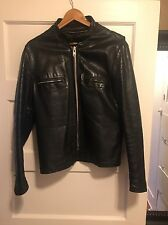 Vintage Men's Leather Cafe Style Motorcycle Jacket, Removable Liner, Size M