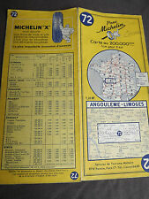 carte michelin 72 angouleme  limoges 1963