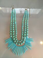 NWOT Faux Light Turquoise Beaded Fringe Statement Necklace Anthropologie
