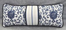 Ralph Lauren Porcelain Rosette & Navy Blue & White Stripe Fabric Custom Pillow