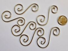 """Decorative Tinned Silver 2"""" Curly Q's Hangers (6) for stained glass projects"""