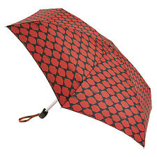 Lulu Guinness by Fulton Ladies Tiny-2  Designer Umbrella Lips Grid Red