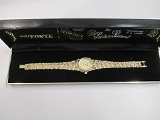 HOT! NEW Dufonte by Lucien Piccard Women's Gold Nugget Band Dress Diamond Watch
