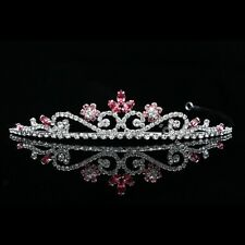 Bridal Flower Pink Rhinestones Crystal Prom Wedding Crown Tiara 8805
