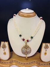 Pearl Bollywood Indian Necklace Earrings Jewellery Set White & gold stones -X2