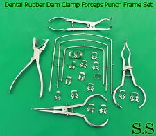Dental Rubber Dam Clamp Forceps Punch Frame Set 22 Pieces