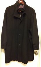 HART SCHAFFNER MARX GOLD WOOL CASHMERE THERMO BLACK COAT OVERCOAT JACKET 48R