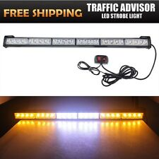 "27"" 24 LED White Amber Emergency Warning Traffic Advisor Flash Strobe Light Bar"