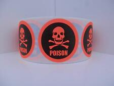 Poison Skull/Cross Bones  red fluorescent Warning Stickers Labels 250/rl