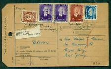 NORWAY 1954 Parcel Card w/hi-value franking to New Jersey, VF