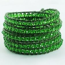 wrap bracelet faceted peridot glass beads leather fashion 5 row bracelet fashion