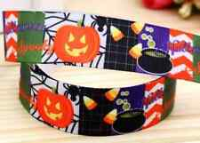"1M 22mm 7/8"" BLACK HALLOWEEN GROSGRAIN RIBBON 99p CAKE PARTY OCT 31ST TRICKTREAT"