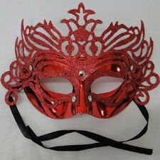 Red Masquerade eye masks with sparkling Glitter venetian carnival party