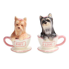 Yorkie Puppies Tea Cup Ceramic Salt and Pepper Shaker Set Kitchen Decor