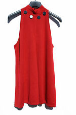 VINTAGE NWT RoccoBarocco Knitwear RED Dress 100% Merino Italy Sleevelees US 10