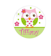 Cute Owl Personalized ANY NAME flower bottle cap necklace - * Free Chain*