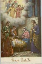 Pastori in visita a Gesù Bambino Angeli Presepe Xmas PC Circa 1930 3