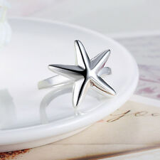 Hot Sales Women 925 Silver Plated Modern Starfish Band Solid Ring Jewelry Size 8