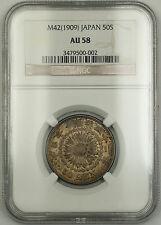 M42 1909 Japan 50 Sen Silver Coin NGC AU-58