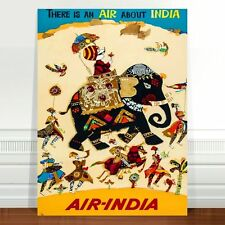 "Stunning Vintage India Travel Poster Art ~ CANVAS PRINT 18x12"" Air India"