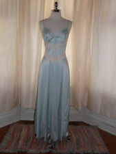 Teaser Vtg 80s Pale Blue SEE THRU LACE PANELS NIGHTGOWN M Semi Sheer Open Back