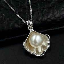 10m White Freshwater Pearl Pendant Necklace Chain 925 Sterling Silver 7472 Shell