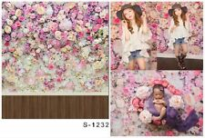 3x5ft Vinyl Photography Background Flower Wall Wood Floor Backdrops Studio Props
