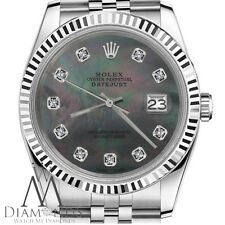 Black Pearl Rolex 26mm Datejust Mother Of Pearl Diamond Stainless Steel SS Watch