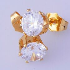 Clear round Crystal CZ Yellow Gold Plated Women's Men's Stud Earrings