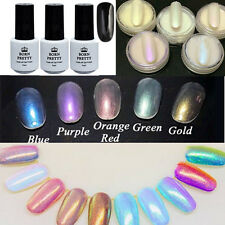 9pcs Black UV Gel Polish Nail Art Mermaid Gradient Chrome Glitter Dust Powder