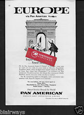PAN AMERICAN TO EUROPE PARIS DOUGLAS SUPER 6 CLIPPER FROM BANGKOK SINGAPORE AD