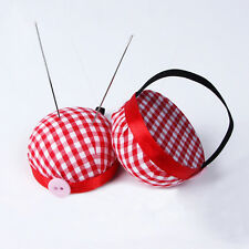 Plaid Grids Needle Sewing Pin Cushion Wrist Strap Tool Button Holder 60 x 30 mm