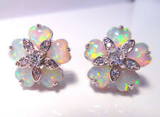 STUNNING WHITE FIRE OPAL FLOWER EARRINGS 14 X 14 mm