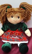 "PLUSH SOFT AMERICAN CHRISTMAS GIRL DOLL JOELLE 15"" I PERSONAL CREATIONS HOLIDAY"