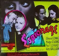 """Espionage"",1937 Movie Preview Advertising, Vintage Magic Lantern Glass Slide"