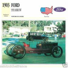 FORD 999/ARROW 1903 CAR VOITURE USA  ÉTATS UNIS CARTE CARD FICHE