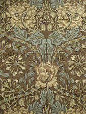 "WILLIAM MORRIS CURTAIN FABRIC ""Honeysuckle & Tulip"" 3.7 METRES BULLRUSH & SLATE"