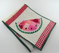 Reversible Quilted Table Runner Summer Watermelons Hand Made