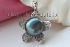 charming Luster Genuine Natural 13mm black Pearl Pendant 9k Zircon #f2500!