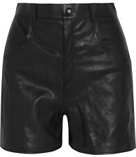 Saint Laurent YSL High Rise Black Leather Shorts Size 38 - MSRP $2,390