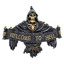 NEMESIS NOW WELCOME TO HELL GRIM REAPER SKELETON WALL HANGING PLAQUE gothic