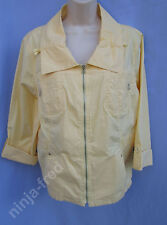 CHICO'S~Size 3 (L)~Light Yellow Long Sleeve Zip Front Lightweight Cotton Jacket