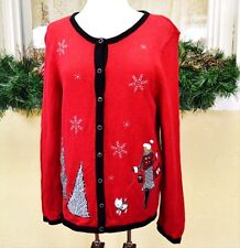 Scotty Dog Cardigan Sweater L Red Black White Embellished Plaid Chevron Trees